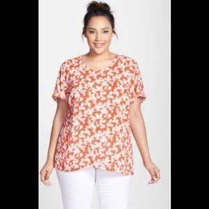 Halogen Print Roll Sleeve Woven Plus Size Top